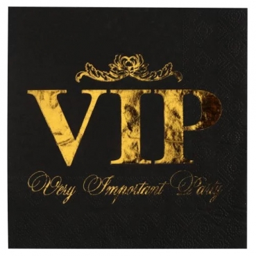 10er Pack Servietten VIP in Schwarz/Gold metallic, 33 x 33 cm