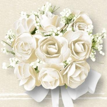 20er Pack Servietten Hochzeit, Weiße Rosen, 33 x 33 cm