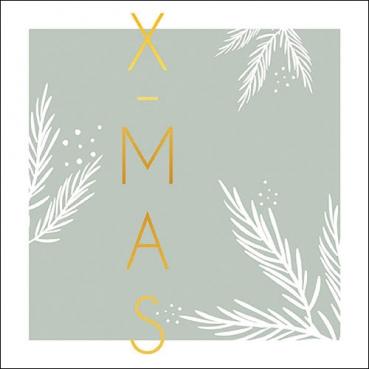 20er Pack Servietten Moderne Weihnachten, X-Mas in Mintgrün,  33 x 33 cm