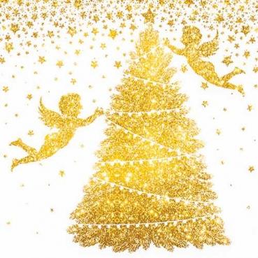 20er Pack Servietten Engel, Weihnachtsbaum, Sterne in Gold, 33 x 33 cm