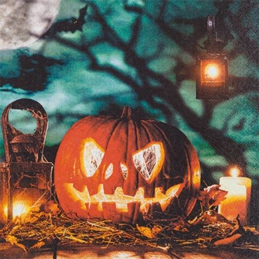 20er Pack Servietten Halloween Grusel Kürbis, 33 x 33 cm, zweiseitig