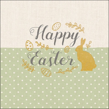 20er Pack Servietten -Happy Easter-, goldene Ostermotive, 33 x 33 cm