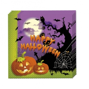 20er Pack Servietten Happy Halloween, Friedhof, Spukhaus, zweiseitig, 33 x 33 cm