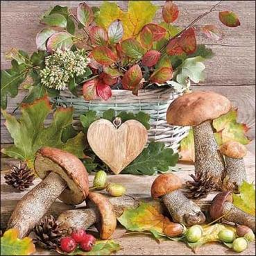 20er Pack Servietten Herbst Szene mit Pilzen & Blättern, 33 x 33 cm