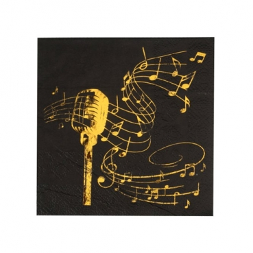20er Pack Cocktail Servietten Musik, Noten, Mikrofon in Schwarz/Gold metallic, 25 x 25 cm
