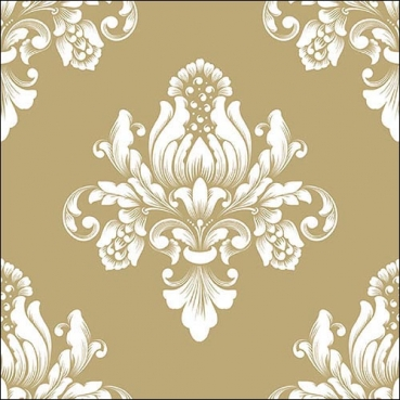 20er Pack Servietten Barock Ornamente in Gold, 33 x 33 cm