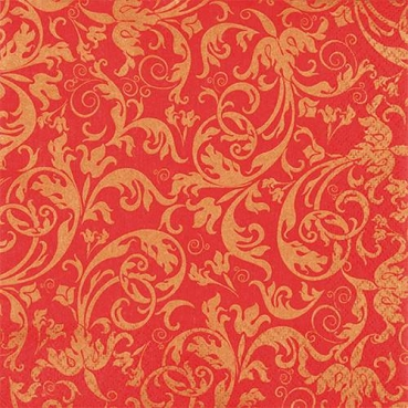 20er Pack Servietten Ornamente in Rot/Gold, 33 x 33 cm