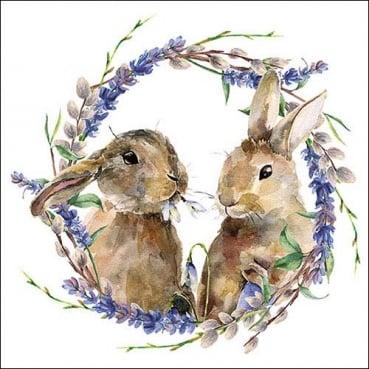 20er Pack Servietten Ostern, Hasen im Frühlingsreigen, 33 x 33 cm