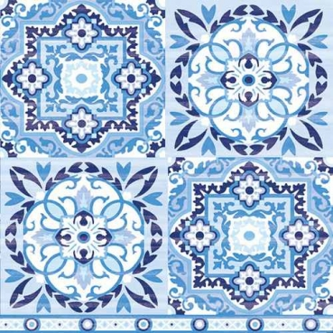 20er Pack Servietten Retro Ornament Fliesen in Blau, 33 x 33 cm