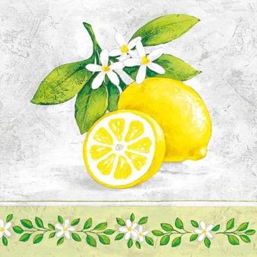 20er Pack Servietten Zitronen mit Blütenzweig, 33 x 33 cm
