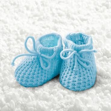20er Pack Servietten Taufe, Baby Strickschühchen in Hellblau, 33 x 33 cm