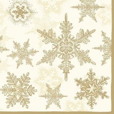 20er Pack Servietten Eiskristalle in Creme/Gold, 33 x 33 cm