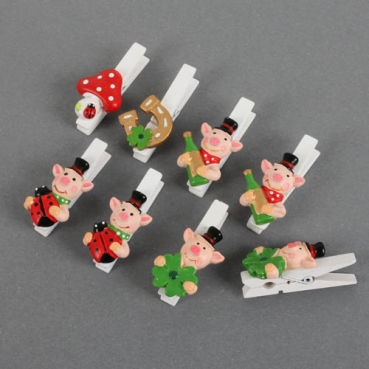 48 mm 8 Glücksbringer Holz Klammern Schweinchen