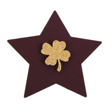 10 Silvester Sterne mit Kleeblatt in Aubergine/Gold glitzernd, 70 mm