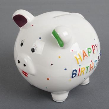 Keramik Sparschwein, Geburtstag -Happy Birthday-, 13 cm