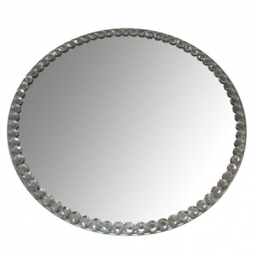 Großer Spiegeluntersetzer, Spiegelplatte rund mit Rand in Strassoptik, 30 cm