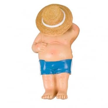 Dekofigur Strandschläfer, Mann in Badehose mit Hut, 90 mm