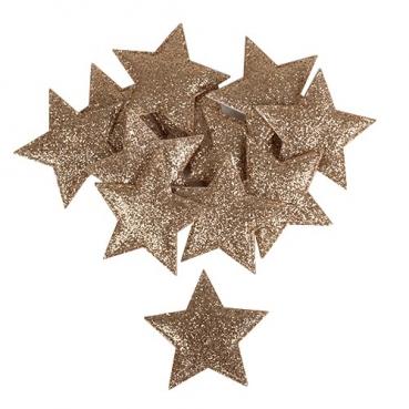 12 Stoff Sterne in Bronze glitzernd mit Klebepunkt, 49 mm