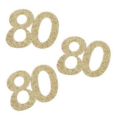10 Streuteile Geburtstag -80- in Gold glitzernd, 55 mm