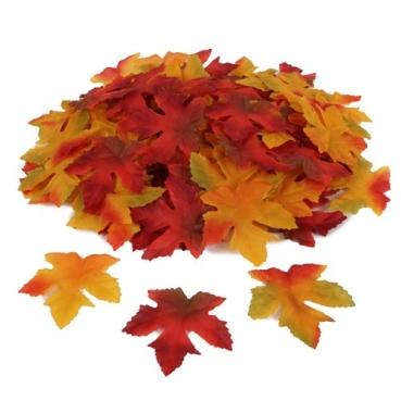 100 Textil Ahornblätter, Herbst, 65 mm