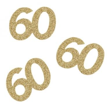 10 Streuteile Geburtstag -60- in Gold glitzernd, 60 mm