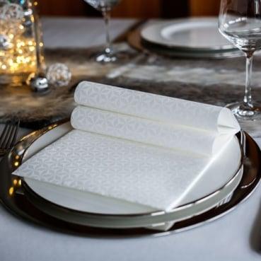 50er Pack Tafeldeko Premium Faltservietten -Weiß auf Weiß-, 40 x 40 cm