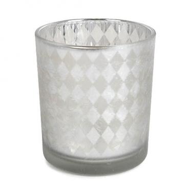 Teelichtglas mit Karo Muster in Silber matt, verspiegelt, 78 mm