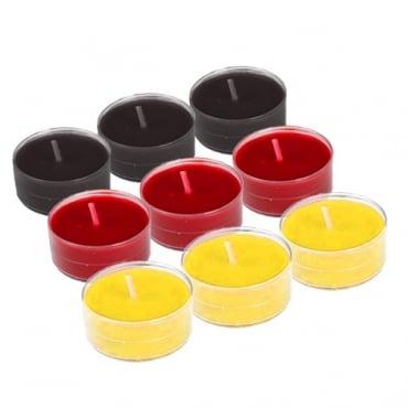 9 Teelichter Deutschland, transparente Hülle, 4 h Brenndauer
