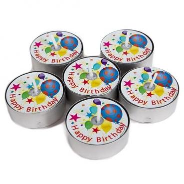 6 Teelichter mit ständig sichtbarem -Happy Birthday-