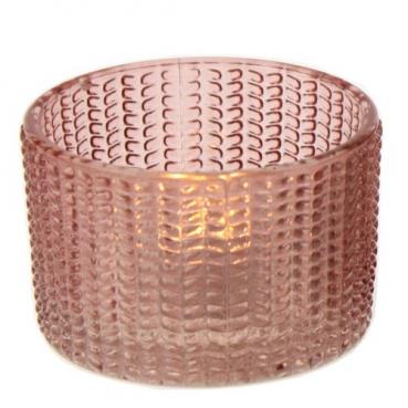 Teelichtglas in Altrosa, 65 mm