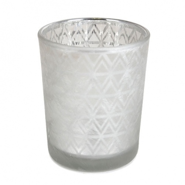 Teelichtglas Azteken Design in Silber matt, verspiegelt, 67 mm