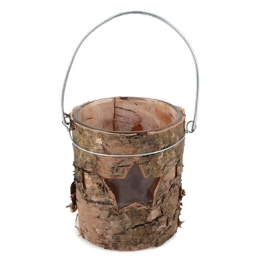 Teelichtglas mit echter Birkenholzrinde, Stern, 75 mm