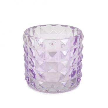 Kleines Kerzenglas, Teelichtglas Kristall, Diamant in Flieder, 67 mm