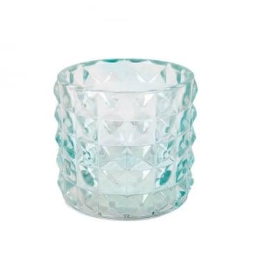 Kleines Kerzenglas, Teelichtglas Kristall, Diamant in Mintgrün, 67 mm