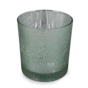 Teelichtglas gesprenkelt mit Glitzereffekt in Mintgrün, verspiegelt, 80 mm