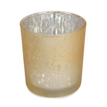 Teelichtglas gesprenkelt in Gold, verspiegelt, 80 mm