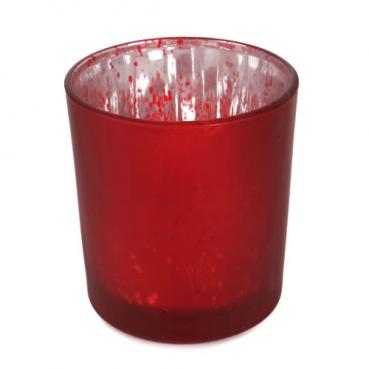 Teelichtglas gesprenkelt in Rot, verspiegelt, 80 mm