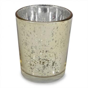 Teelichtglas in Gold glänzend, verspiegelt, 67 mm