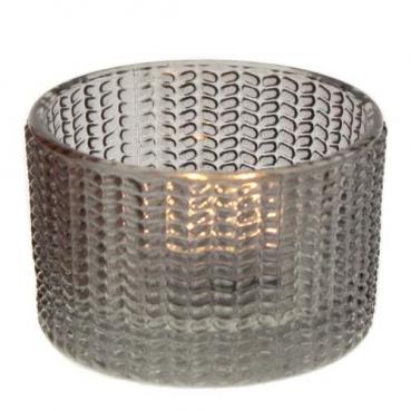 Teelichtglas in Grau, 65 mm