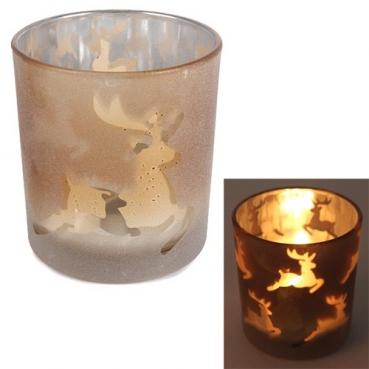 Teelichtglas Hirsche, verspiegelt in Bronze gefrostet, 80 mm