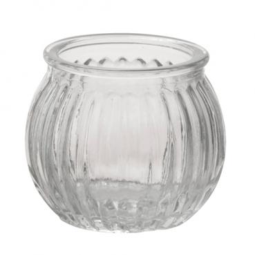 Teelichtglas, Windlicht gestreift, klar, 65 mm