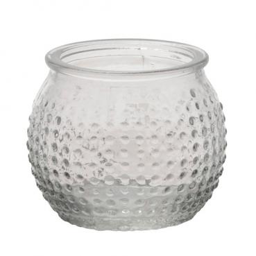 Teelichtglas, Windlicht gepunktet, klar, 65 mm