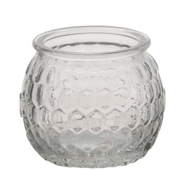 Teelichtglas, Windlicht Wabenmuster, klar, 65 mm