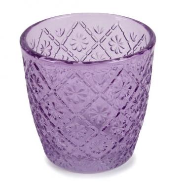 Teelichtglas mit Blümchenmuster in Lavendel, 75 mm
