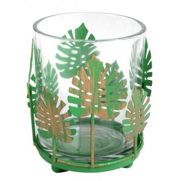 Teelichtglas mit Metallblättern, Monsterablatt in Grün, Nr. 2, 80 mm