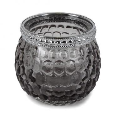 Teelichtglas, Windlicht mit Metallrand in Dunkelgrau/Silber, 65 mm