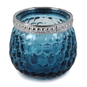 Teelichtglas, Windlicht mit Metallrand in Türkis/Silber, 65 mm