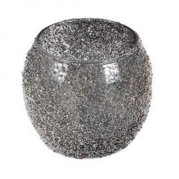 Teelichtglas Kugel mit Mini-Perlenverzierung in Grau/Silber, 80 mm
