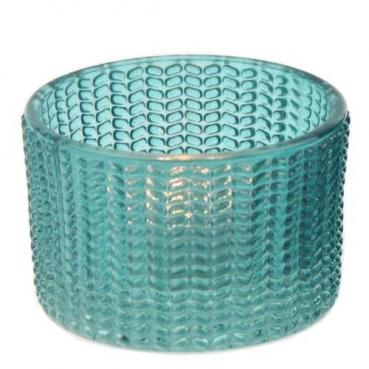 Teelichtglas in Türkis, 65 mm