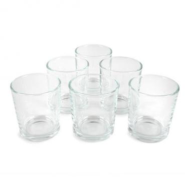 6 Teelichtgläser, Votivgläser, klar, 65 x 58 mm